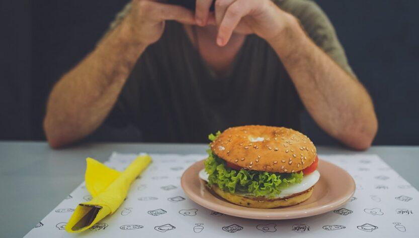 A man with hamburger dish.
