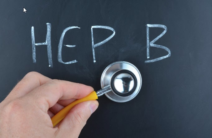 """A black board has a word of """"HEP B"""" and a stethoscope"""