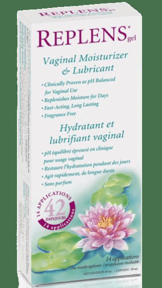 The box of Replens gel vaginal Moisturizr 14 applications