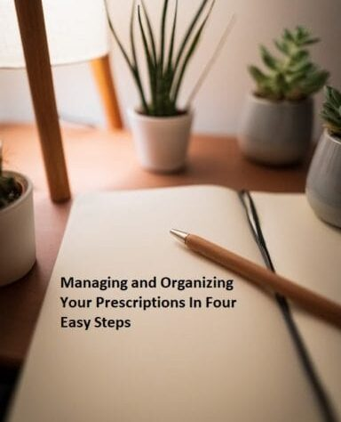 """online prescription steps- a notebook with """"managing and organizing your prescription in four easy steps"""" quotation"""