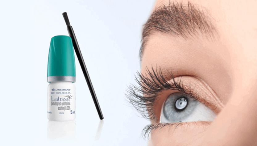 The allergan Latisse 0.03% 5ml next to woman's eye.