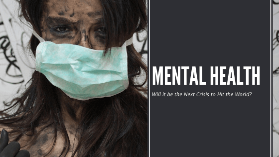 """The lady wearing medical mask, smeared face with """"mental health"""" statement."""